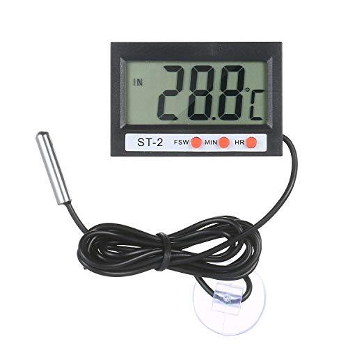 Leeofty LCD Digital Acuario Termómetro Terrario Termómetro Medidor de temperatura del tanque de peces Monitor de temperatura con botón de sonda Cinta de celdas Ventosa para refrigerador Refrigerador