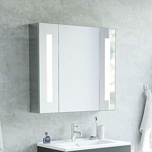 Xinyang LED Spiegelschrank 65x60cm Badezimmer Spiegelschrank Aluminium mit LED Beleuchtung Lichtspiegelschrank Infrarot Sensorschalter Soft-Close-Funktion Kaltweiss