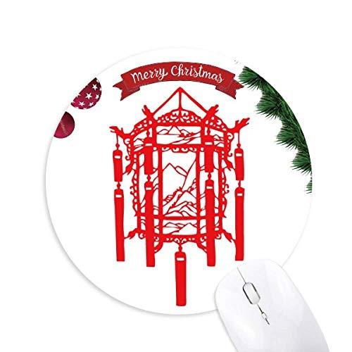 la lanterne rouge papier découpé chinois tapis de souris en caoutchouc de sapin de noël