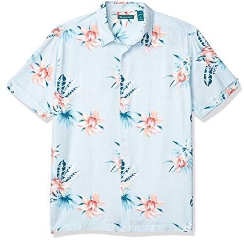 Cubavera Men's Floral Print Shirt, Delphinium Blue, Large