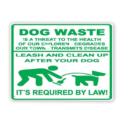 Señal de advertencia,Los desechos de perro son una amenaza para la salud ¡Ponga la correa y limpie después de que su perro lo exija la ley!,Señal de advertencia de aluminio de estaño 12x16 Inch