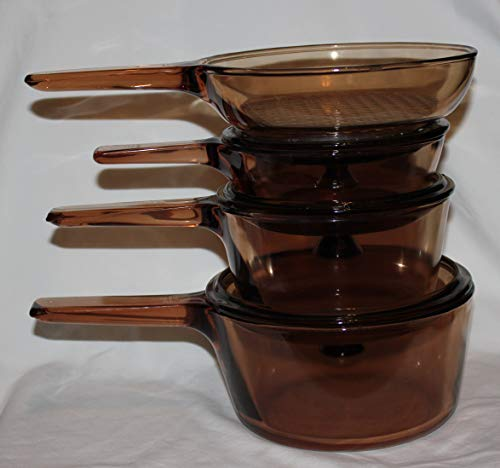 7 PIECE SET - Corning Visions Vision Ware Amber 1.5 Liter, 1 Liter, .5 Liter Sauce Pan Pot & 7 1/2 Inch Skillet Frying Pan w/ Lids
