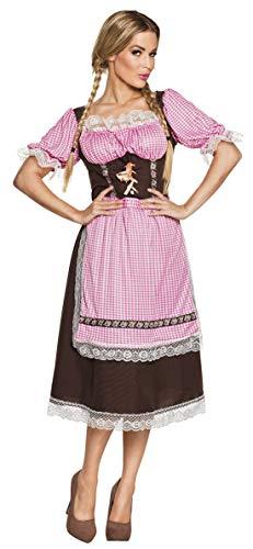 Karnevalsbud - Damen Frauen Kostüm Tiroler Edelweiß Unterbrust Dirndl mit rot weiß karierter Schürze im Wiesn Style, Dress with red white checkered apron im Munich Look, perfekt für das Oktoberfest Karneval und Fasching, S/M, Rot