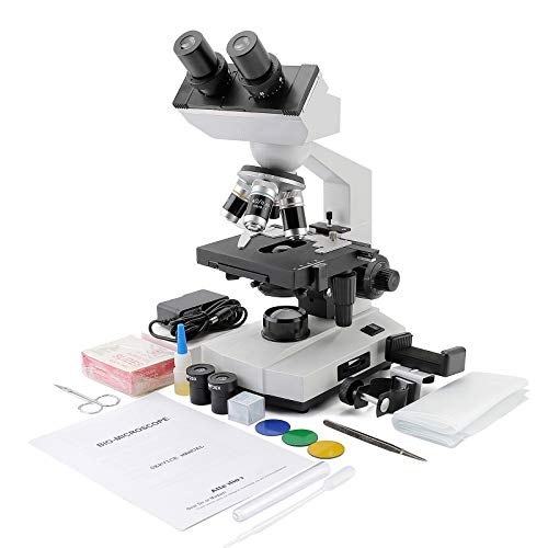 Cafthings LED Binocular Compound Lab Professional Electron Biological Microscope with 10X 20X Eyepieces, Double Layer Mechanical Stage & Ultra-Precise,Focusing,Including Slides, Phone Adapters
