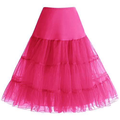 Bbonlinedress 1950 Petticoat Reifrock Unterrock Petticoat Underskirt Crinoline für Rockabilly Kleid Rose S