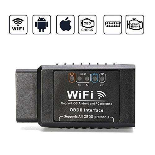 OBD2 Diagnosegerät/Scanner, Kabellos Auto WiFi Diagnose Scanner OBDII Codeleser OBD2 Stecker Codeleser Prüfen Motor Fehlercodes Can Bus Interface Kompatibel mit iOS, Android für Autos