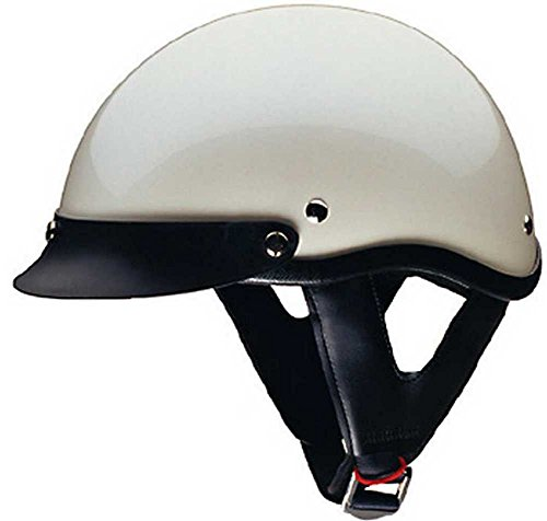 HCI Pearl White Motorcycle Half Helmet with Visor - ABS Shell 100-113 (XL)