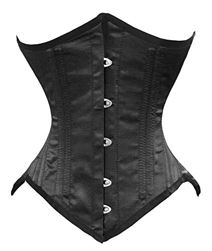 "Luvsecretlingerie 26 Double Steel Boned Waist Training Satin Underbust Corset,3XL (For waist 38""-39""),Black"