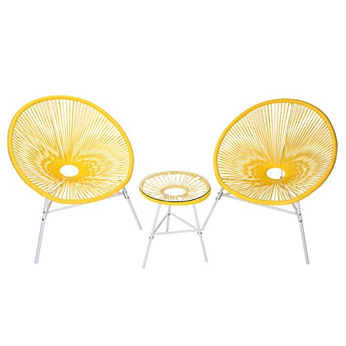 PatioPost Outdoor Acapulco Chair 3 Piece Bistro Set Patio Furniture Sets with Glass Top Table -Yellow