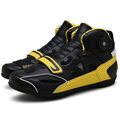 JQKA Zapatillas De Montacargas De Motocicletas Botas Protectoras De Motocross De Calle para Hombres, Zapatos Informales Transportables Transportables(Size:45,Color:Amarillo)