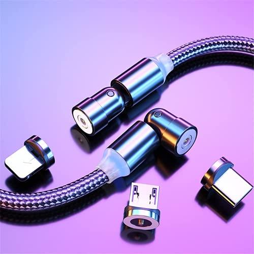 マグネット 充電ケーブル 3in1 2.4A USBケーブル L-product/Type c/Micro USB2.0 360度+180度回転 急速充電 ケーブル QC3.0 LEDライト付き iPhone 12 / 12 Pro / 12 Pro Max / 11 / XR/SE/Galaxy など対応 着脱式 強い磁気 防塵(1m+2m,Black)