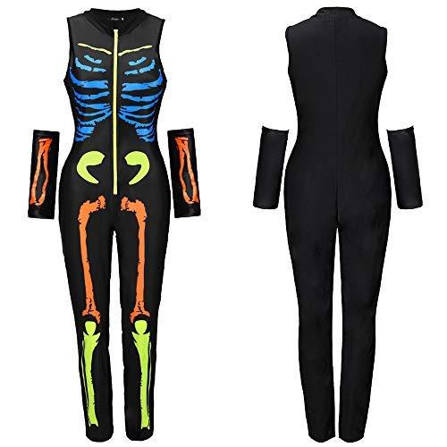 Disfraz de esqueleto de esqueleto de esqueleto de fantasma para mujer, de DiscoUNTL, Otoo-Invierno, Pantalones, Mujer, color amarillo, tamao S