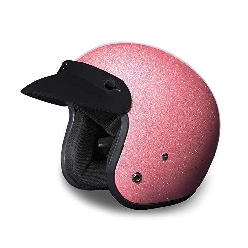 Daytona Helmets Motorcycle Open Face Helmet Cruiser- Pink Metal Flake 100% DOT Approved