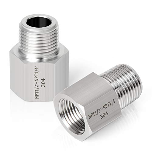 Taisher 2PCS Forging of 304 Stainless Steel Fitting, Reducer Adapter, 1/4-Inch Male Pipe x 1/2-Inch Female Pipe Indiana