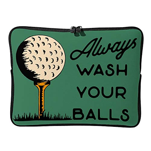 Regular Always Wash Your Balls Golf Laptop Bags Funny Wear-Resistant - Golfer Tablet Protector Suitable for Work White 15 Zoll