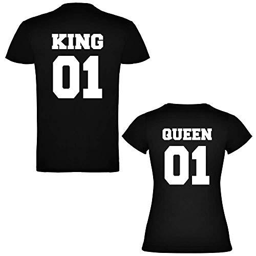 Pack de 2 Camisetas Negras para Parejas, King 01 y Queen 01 Bold Blanco (Mujer Tamaño S + Hombre Tamaño S)