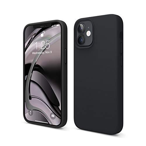 """Elago Silicone Liquido Custodia Cover Compatibile con iPhone 12 Mini Case (5.4""""), Silicone Liquido Premium, Protezione Full Body : Case Antiurto 3 Strati (Nero)"""