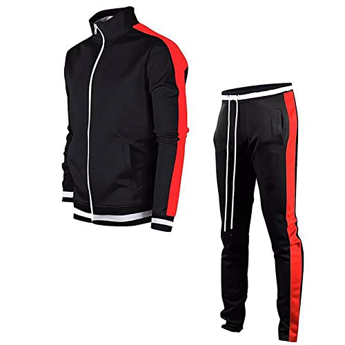LeerKing Men's Tracksuit Activewear Joggers Sports Set Full Zip Sweat Suit for Youth Teens,Black & Red,L