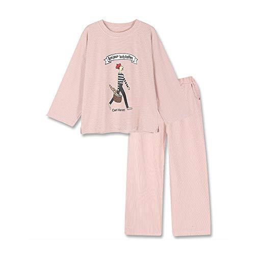 Pijama, traje de dormir de algodón puro de 2 piezas, pijama de rayas de manga larga para mujer, suave y ligero, cómodo y transpirable, diseño de cuello redondo/rosado/M