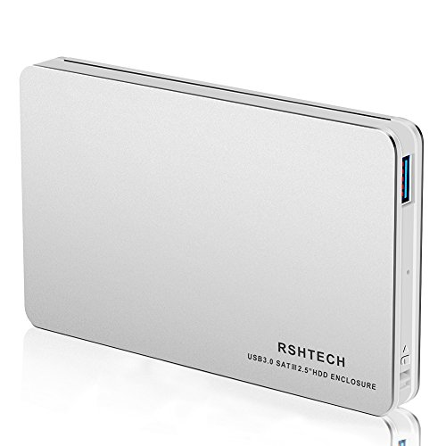RSHTECH Hard Drive Enclosure USB 3.0 Hard Drive Docking Station External Aluminum Case for 3.5 inch SATA I/II/III/HDD or SSD Support UASP & 8TB Drives (Silver)
