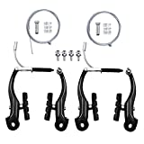Blissgo 2 Pairs Bike Brakes, Universal Complete V Bike Brakes Set, Mountain Bike Replacement for Most Bicycle,Road Bike Brakes Cables with Front Back Wheels End Caps,End Ferrules -Black