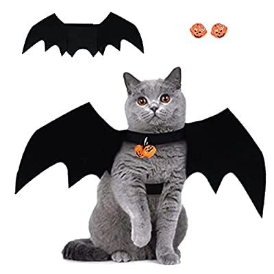 Halloween Pet Bat Wings,Bat Costume for Small Dogs and Cat,Halloween Cat Cosplay Accessory with Pumpkins bell,Bat Vampire Costume,Suitable for Cute Kittens and Puppies Etc Pet Clothing