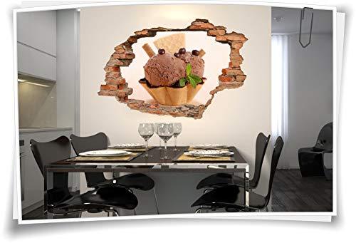 Medianlux 3D muurschildering muurtattoo muursticker ijsbol wafel chocolade parel kaneel decoratie