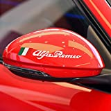 4 Pcs Voiture Rétroviseur Autocollants Autocollants Décoration Accessoires, Pour Alfa Romeo Giulietta Giulia Stelvio 159147156166 GT MiTo Car Styling (white)