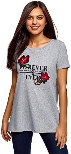 oodji Ultra Mujer Camiseta Holgada de Algodón