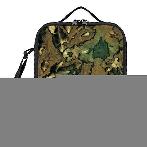 Bolsa de almuerzo portátil contenedor de almuerzo diseño de camuflaje verde reutilizable fiambrera aislada para mujeres, hombres, niñas, niños para el trabajo, escuela, picnic, canotaje, playa