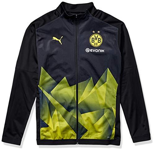 PUMA Mens Borussia Dortmund Licensed Stadium Jacket 2019-2020 Small, PUMA Black/Cyber Yellow