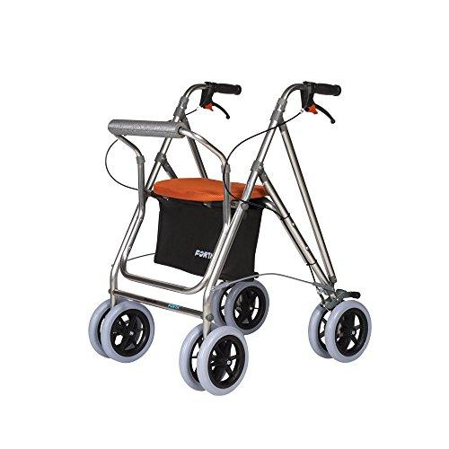 Zusammeklappbarer Rollator für Senioren aus Aluminium | mit Bremsen, Sitz und Rückenlehnen | Farbe: Orange