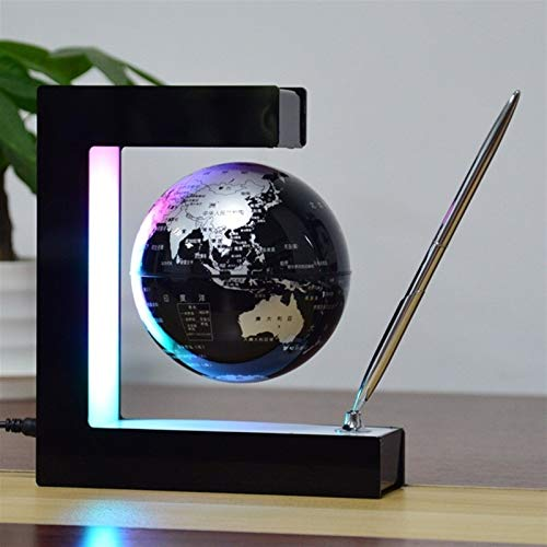 Deer Ornaments Interactive globe, 4-inch Home Electronic Floating World Interactive globe Magnetic Levitation with Led Interactive Smart globe for Family, Office decoration (Color : Black)