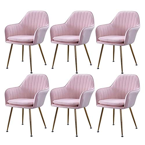 Modern Dining Chairs Set of 6 Scandinavian Style Design Velvet Upholstered Kitchen Side Chairs with Sturdy Metal Legs (Color : Pink, Size : Golden Legs)