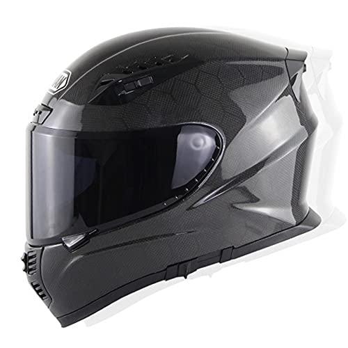 Fibra de carbon Casco De Moto Integral Homologado ECE,Casco Integral Mujer Hombre Jóvenes Casco Moto Doble Visera Casco Moto Integral,Que Protege La Seguridad Vial De Los Usuarios G,L=58~59CM