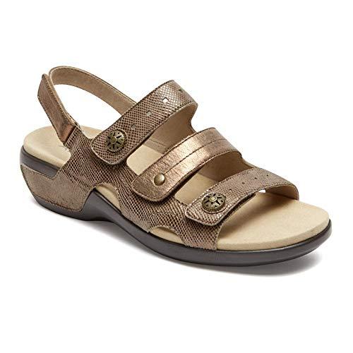 Aravon Women's Power Comfort Three Strap Heeled Sandal, Metallic Taupe, 12 B US