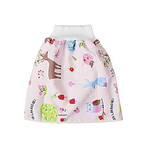 Qiekenao Baby-Wickel-Trainingsrock, Baumwolle, hohe Taille, auslaufsicher, Wickelrock für Kinder Gr. Medium, Pink Fawn
