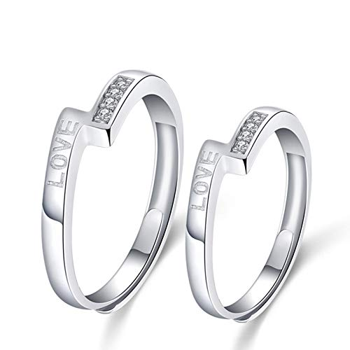 Cenliva Gay Engagement Ring Men, Promise Rings Set of 2 Engraved Love Sterling Silver CZ Wedding Band
