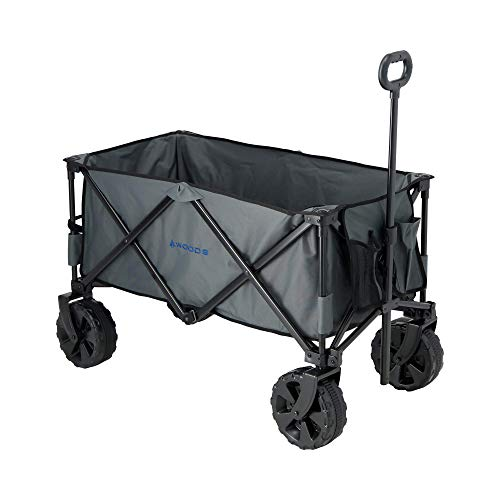 Woods Outdoor Collapsible Wagon | Heavy Duty Folding Utility Wagon | All-Terrain Wheels | 225 lbs Capacity, Gray