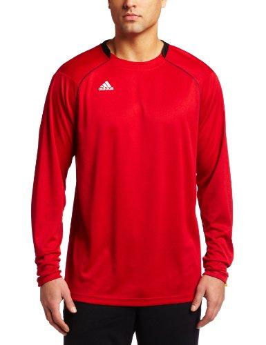 adidas Hombres de Varsity–Loose Fit Camiseta de Manga Larga, Hombre, University Red, Black