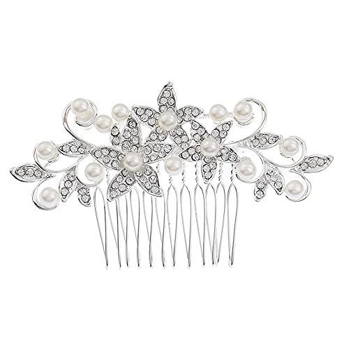 Aloces Peineta de boda para el pelo, con perlas de cristal y...
