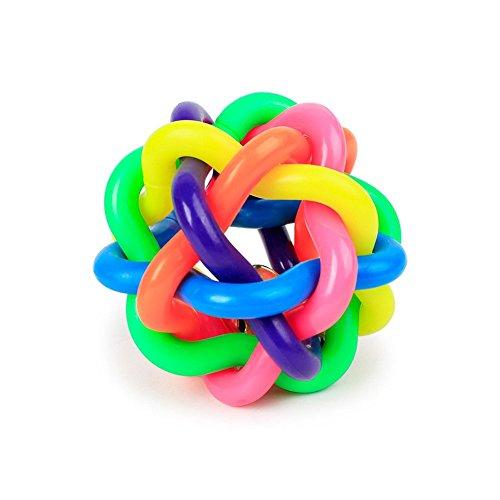 JeromKewin Hundespielzeug Ball mit Glocke, bunt, Gummi-Knoten, interaktives Spielzeug, Large