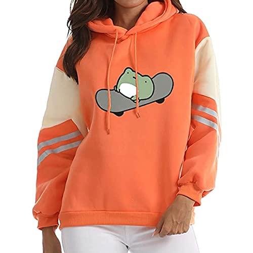 Sudadera con capucha para mujer, de gran tamaño, con estampado de rana, para otoño e invierno, B-naranja., XXL
