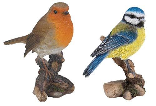 Vivid Arts Dekofigur, britische Vögel, Rotkehlchen und Blaumeise