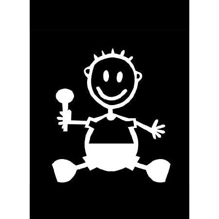 My Stick Figure Family Familie Auto Aufkleber Autoaufkleber Decal Sticker Baby Junge Bb1 Auto