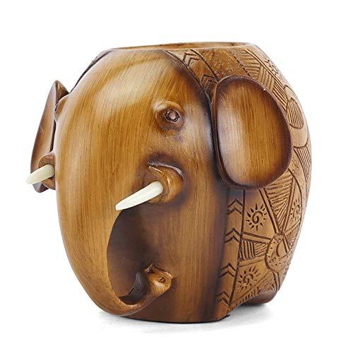 NZDY Tenedor de Lápices de Elefante de Madera Iza Amp de Oficina Creativa; Decoración para el Hogar Titular de la Pluma Soporte de Las Señoras Maquillaje Pincel de Alenamiento Caja de Alenamiento Mes