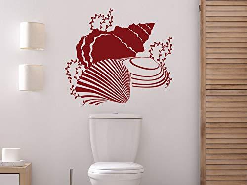 GRAZDesign Wandtattoo Muscheln, maritim für Badezimmer, Wand Aufkleber Fliesen / 33x30cm / 031 rot