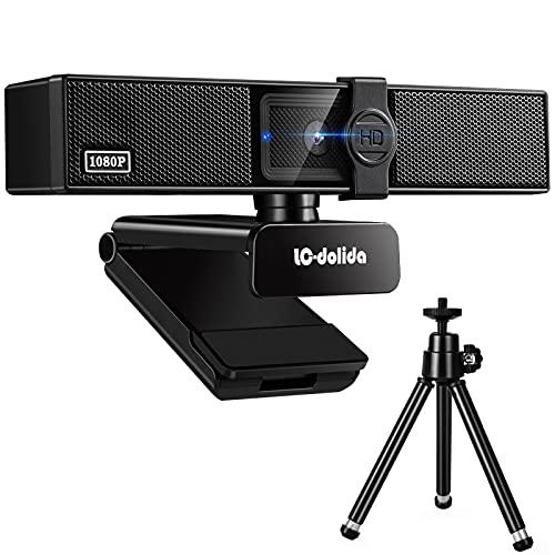 LC-dolida Webcam con micrófono, 1080P HD, webcam con tapa de objetivo y trípode, con enfoque automático/micrófono estéreo, para ordenador portátil, PC, Skype, videochat y grabación, conferencia