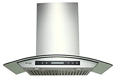 "EKON NAP03-30"" Wall Mounted Stainless Steel & Curved Glass Kitchen Range Hood 900 CFM / 4 Speeds Touch Control With Remote And LCD Display / 2 Pcs 3W Led Lamp / 2 Pcs Baffle Filters"
