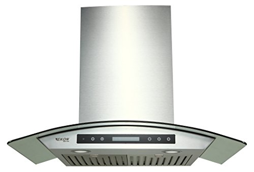 """EKON NAP03-30"""" Wall Mounted Stainless Steel & Curved Glass Kitchen Range Hood 900 CFM / 4 Speeds Touch Control With Remote And LCD Display / 2 Pcs 3W Led Lamp / 2 Pcs Baffle Filters(NAP03-30"""")"""